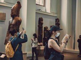 Visitors in the British Museum's Egyptian galleries on Thursday. Photo: Tom Jamieson for The New York Times.